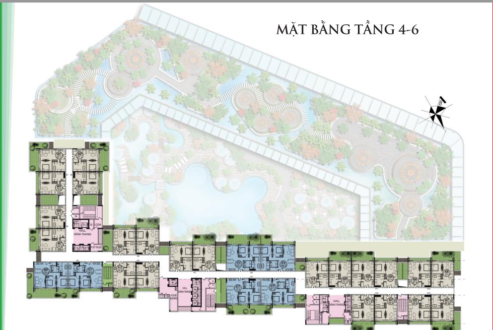mặt bằng tầng 4 tầng 6 flamingo đại lải